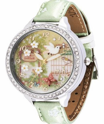 Oh My Lady* Green Innovative 3D Miniature, Flowers, Butterflies, Birds, Secret Garden Themed High Qaulity Waterproof Watch with GENUINE LEATHER Strap & Delicate Handcraft Clay Art - Gift Boxed