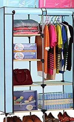 Aojia Canvas Wardrobe Clothes Hanging Rail Cupboard Clothes Storage Organiser 8103Blue product image