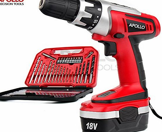 apollo precision tools Apollo 18 V Pro Combo Cordless Drill Driver with 1000 mAh NiCad Battery, 17 Position Keyless Clutch, Variable Speed Switch amp; 30 Piece Drill and Screwdriver Bit Accessory Set in Compact Storage Cas