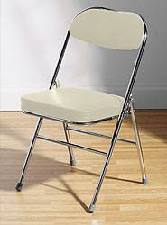 Arboreta Folding Chrome Chair with Cream PVC Seat and Back