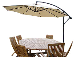 Enjoy you al fresco dining without a pole in the way!     This 3 meter parasol is ideal for using - CLICK FOR MORE INFORMATION