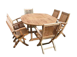 1 Poppleford round extendible table and 6 Brampford folding armchairs.    The Poppleford is a - CLICK FOR MORE INFORMATION