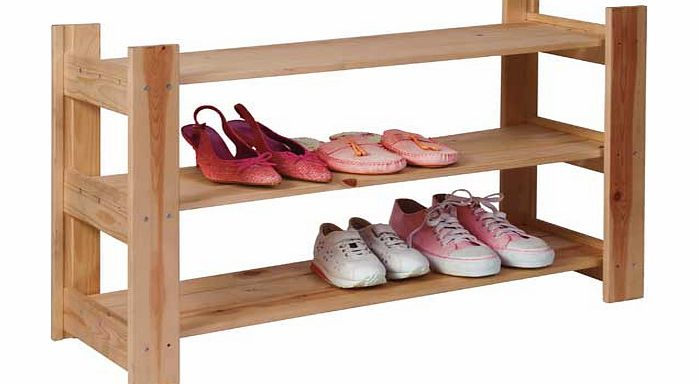 Home  Shelf Shoe Storage Rack Solid Unfinished Pine