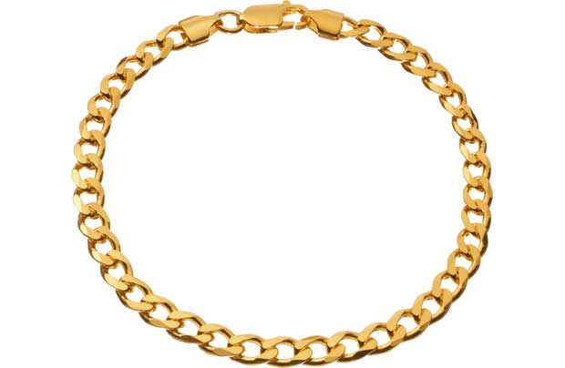 9ct Gold Plated Silver Solid Curb Bracelet