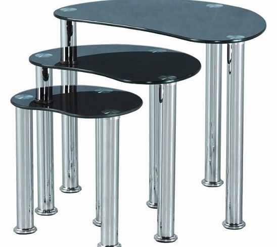 Glass Coffee Tables Argos: Black Glass Nest Of Tables