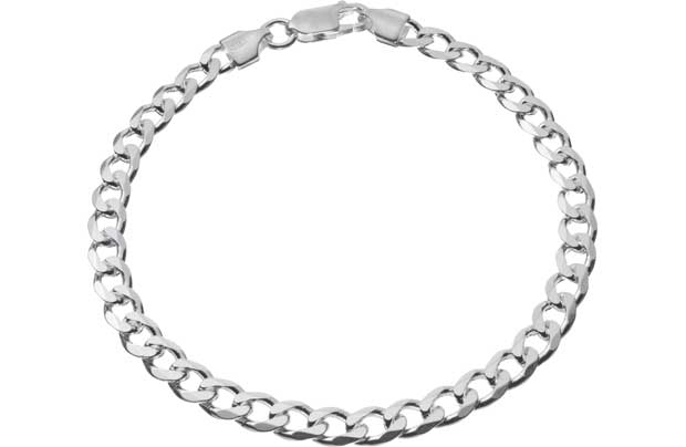 Sterling Silver Diamond Cut Solid Curb Bracelet