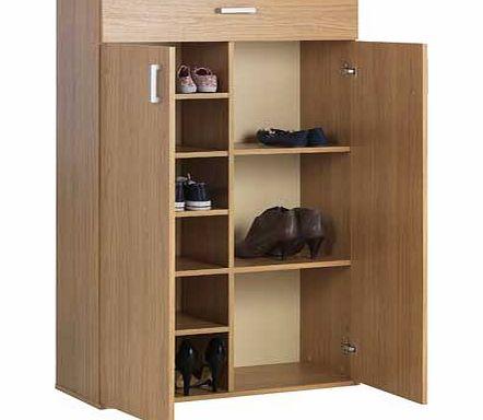 argos venetia tall shoe storage cabinet oak effect. Black Bedroom Furniture Sets. Home Design Ideas