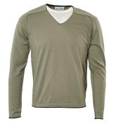 Armani Cement Beige V-Neck Sweater