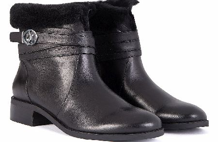 Armani Jeans Womens Fur Lined Leather Boots