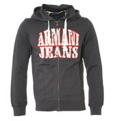 Armani Navy Full Zip Hooded Sweatshirt