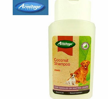 Pet Care Coconut Dog Shampoo 250ml For Tangled Or Matted Coats Easy