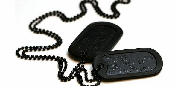 Army Dog Tags Special forces style black dog tags with chains and silencers, personalised with your information