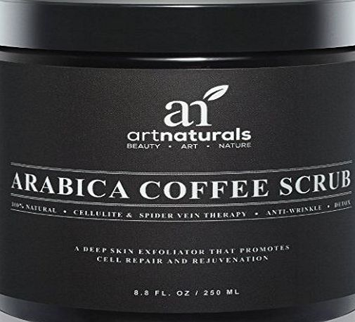 Art Naturals Organic Arabica Coffee Scrub 250 ml - The Most Powerful Remedy for Varicose Veins, Cellulite, Stretch Marks, Eczema amp; Acne - Deep Skin Exfoliator That Promotes Cell Repair amp; Rejuv