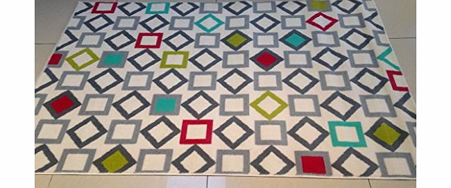 ASPECT RETRO Geometric Rug-Grey,Silver,Red,Green,White amp;Teal Multi-coloured Rhombus/Square patterned Rug/120x170cm product image