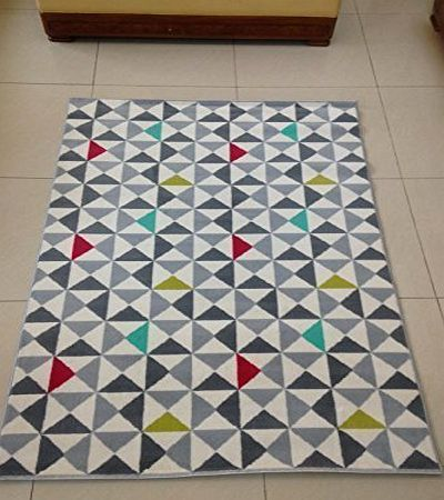 ASPECT RETRO Geometric Rug-Grey,Silver,Red,Green,White amp;Teal Multi-coloured Triangle Rug/120x170cm product image