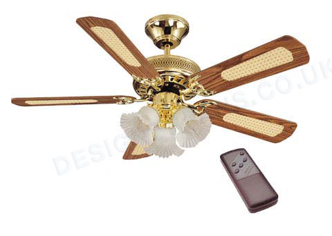 Astra Holcombe 42 inch remote control brass Ceiling Fan Light - review, compare prices, buy online