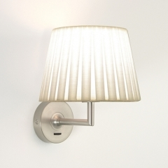 Appa Nickel Matt Wall Light with White Shade