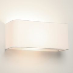 Ashino Wide Wall Light White Fabric Shade