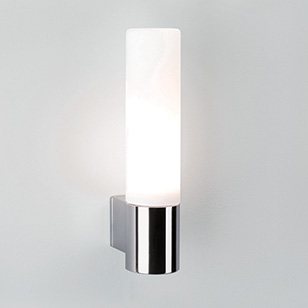Astro Lighting Bari Bathroom Chrome Wall Light With White Opaque Glass Tube Shade - review ...