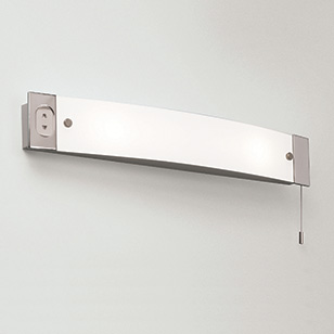 Astro Lighting Bathroom Wall Light In Chrome And Glass With A Pull Cord Switch And Shaver Socket ...
