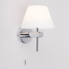 Roma Chrome Bathroom Wall Light Switched