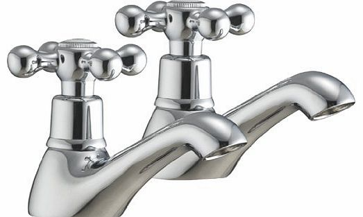 Traditional Twin Basin Sink Hot and Cold Taps Luxury Pair Chrome Bathroom Faucet