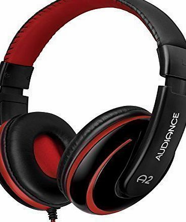 Audiance A2 Premium Over Ear Stereo Headphones in Black amp; Red (3.5mm Jack)