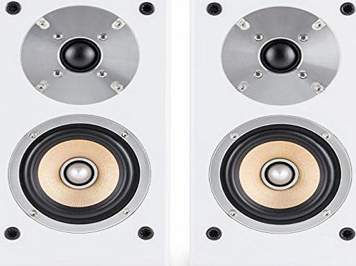 auna Line 501-BS-WH Pair of Passive Bookshelf Speakers (50W RMS, 4`` Midrange Driver amp; Gold Plated Speaker Connections) - White/White