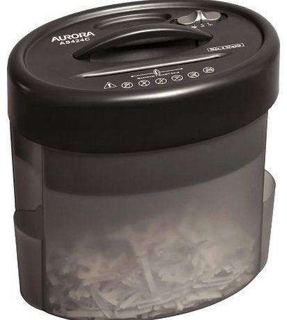Aurora AS424C cross cut paper shredder, compact and portable and suitable for use on your table or desktop