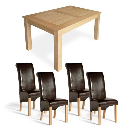 Oak Dining Set - 5`Table + 4 Ruby Chairs