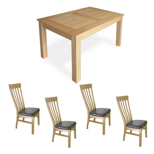 Oak Dining Set (5`Table x4 Classic Chairs)