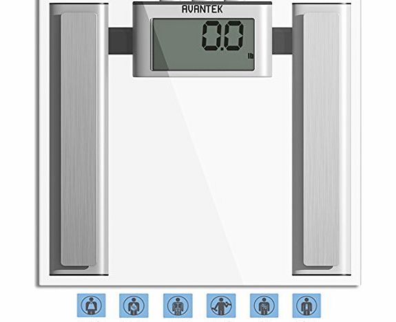 AVANTEK Digital Bathroom Body Fat Scale (Measures Water, Fat, Muscle & Bone Mass) with 400 lb / 180 kg Capacity & Step-On Technology product image