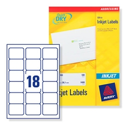 AAvery Quick DRY Inkjet Labels. 18 per sheet. 25