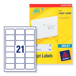 Quick DRY Inkjet Labels. 21 per sheet. 250