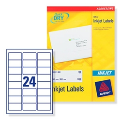 Quick DRY Inkjet Labels. 24 per sheet. 25