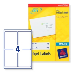 Quick DRY Inkjet Labels. 4 per sheet. 25