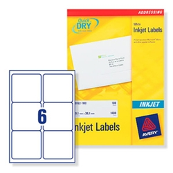 Quick DRY Inkjet Labels. 6 per sheet. 25
