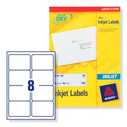 Quick DRY Inkjet Labels. 8 per sheet. 25