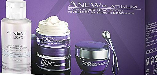 Avon Anew Platinum (60 ) Skincare Kit - includes Day Cream, Night Cream, Eye Cream and 3-in-1 Cleanser Wate