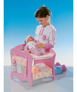 Includes changing mat, fabric drawers and size pockets