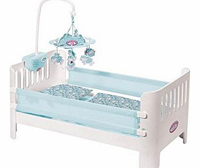 Beautiful bed with lullaby music and cute sheep mobile to help Baby Annabell and Baby Annabell Brother doll drift off to sleep. Includes adorable pillow and blanket. Batt (Barcode EAN = 4001167793435). - CLICK FOR MORE INFORMATION