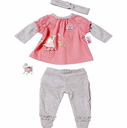 Your Baby Annabell will look super cute in the Deluxe Clothing Set. This pretty outfit includes: Long-sleeved pink polka dot top, Grey trousers and Grey hairband. Doll no (Barcode EAN = 4001167792797). - CLICK FOR MORE INFORMATION