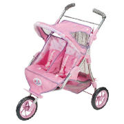 Now Baby Born can travel in twos! A 3 wheeled jogger where 2 Baby Born dolls can sit side by side - CLICK FOR MORE INFORMATION