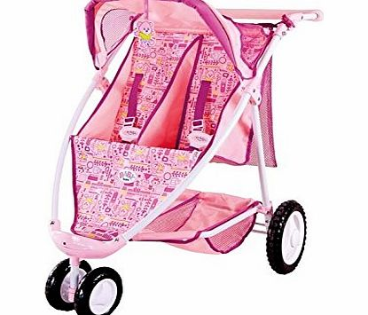 A 3 wheeled double jogger with sun canopy, storage basket and height adjustable handle (66 to 84cm). - CLICK FOR MORE INFORMATION