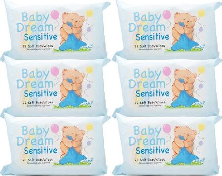 Baby Dream, 2102[^]0098900 Baby Wipes Sensitive - 6 Pack