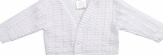 BABYTOWN Baby Boys Cable Knit Cardigan Knitted All White Plain Newborn-3 Months
