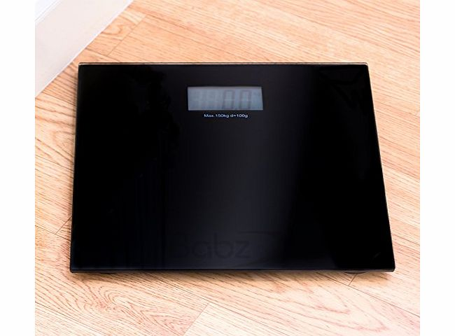 Babz Black Digital LCD Bathroom Weighing Platform Scales Electronic Scale product image