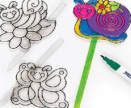 Baker Ross Garden Colour-in Suncatcher Stakes 3 Assorted Designs Glass Painting Kids Art amp; Craft Activities (Pack of 6)