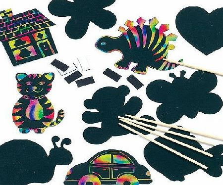 Baker Ross Scratch Art Novelty Magnets Assorted Designs for Children to Create Decorations (Pack of 10)