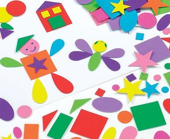 Baker Ross Self-Adhesive Assorted Foam Shapes Childrens Craft, Collage, Card Making, Scrapbooking (Pack of 180)
